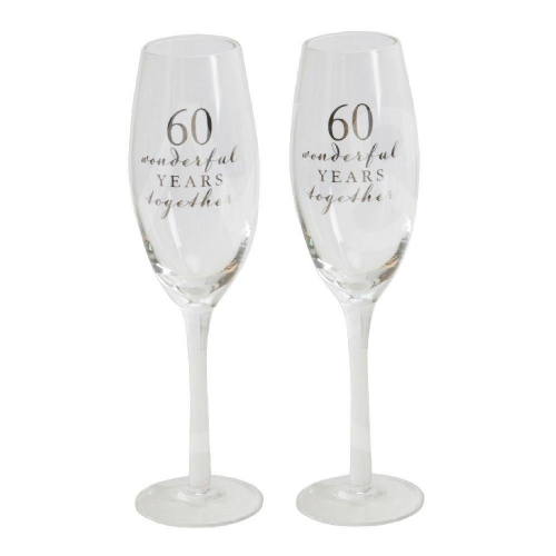 Amore Champagne Flutes Set of 2 - 60th Anniversary